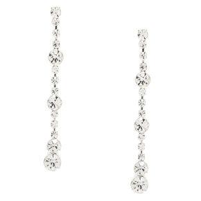 Silver Rhinestone Crystal Linear Drop Earrings,