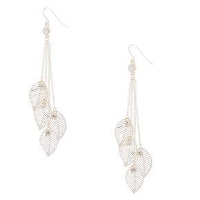 """Silver 4"""" Falling Leaves Chain Drop Earrings,"""