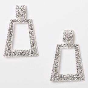 "Silver 2"" Rhinestone Door Knocker Drop Earrings,"