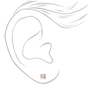 Rose Gold Cubic Zirconia Round Stud Earrings - 3MM, 4MM, 5MM,