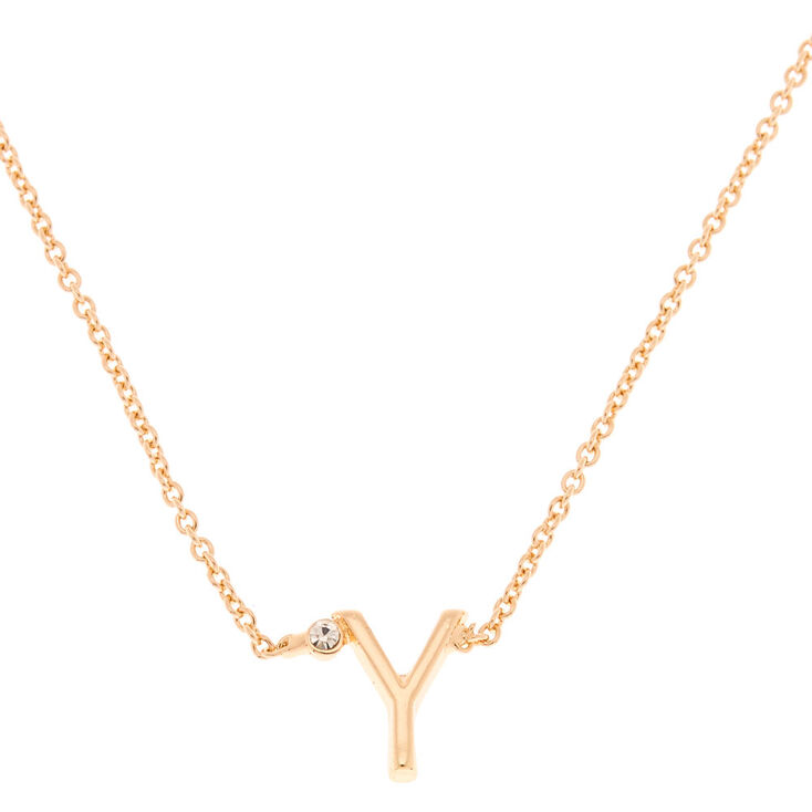 Gold Stone Initial Pendant Necklace - Y,