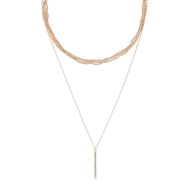 Claire's - rose bling multi strand necklace - 1
