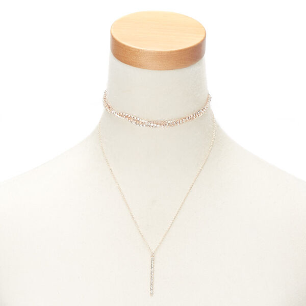 Claire's - rose bling multi strand necklace - 2