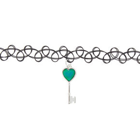 Mood Key Tattoo Choker Necklace,