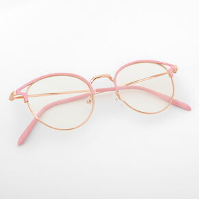 Gold Round Pink Browline Clear Lens Frames,
