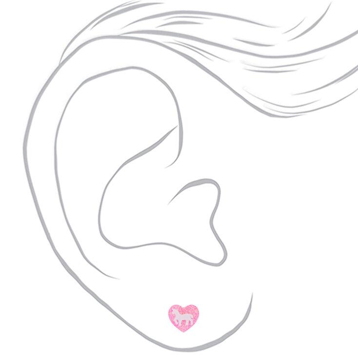 Unicorn Glitter Heart Stud Earrings - Pink,