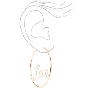 Anneaux d'oreilles «Love» en lettres cursives 60mm couleur dorée,