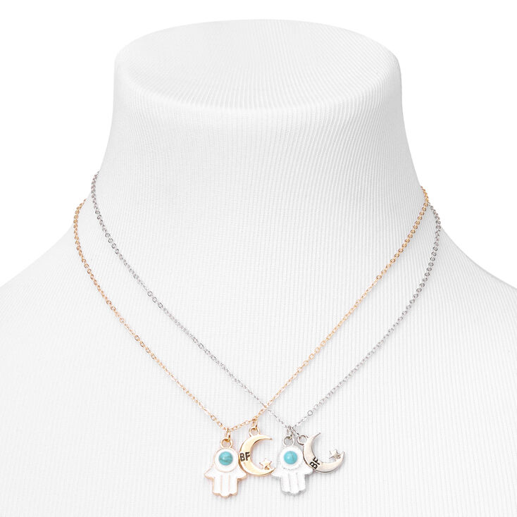 Best Friends Celestial Hamsa Hand Pendant Necklaces - Turquoise, 2 Pack,