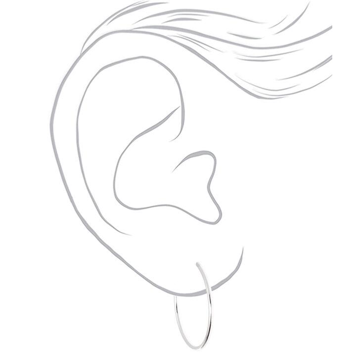 Silver 30MM Clip On Hoop Earrings,
