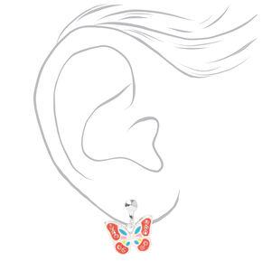 Silver Enamel Butterfly Clip On Earrings,