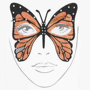 Tatouages pour le visage papillon à paillettes Halloween - Orange,