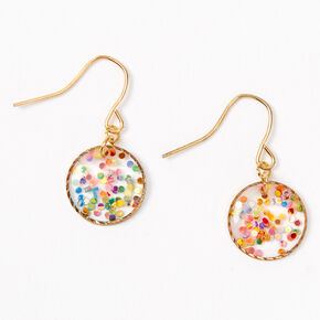 "Gold 0.5"" Rainbow Confetti Circle Drop Earrings,"