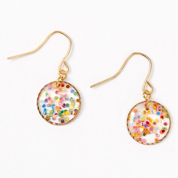 "Gold 0.5"" Rainbow Confetti Circle Drop Earrings,"