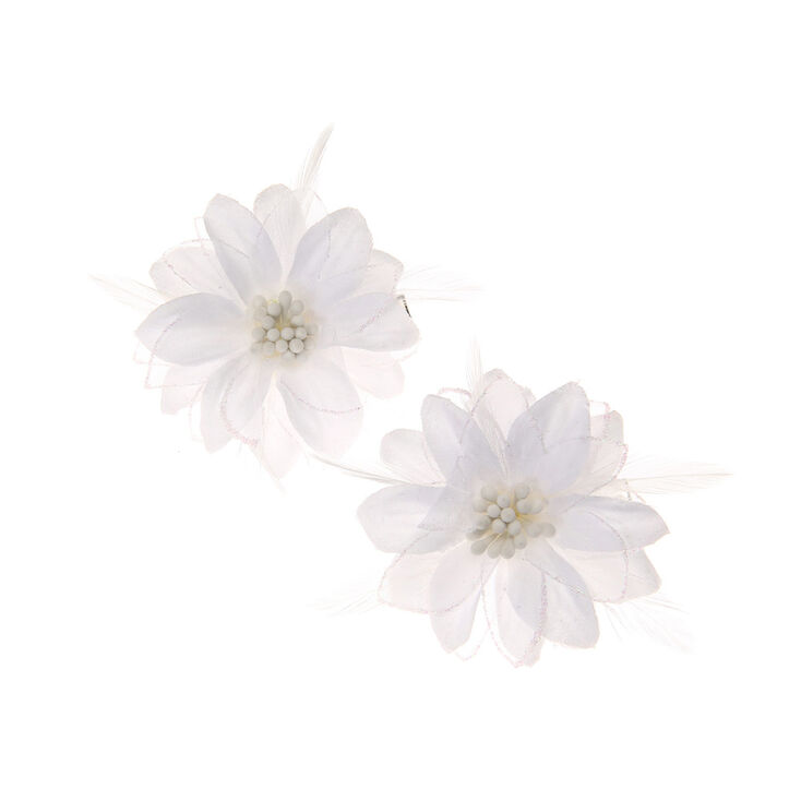Lily Flower Hair Clips White 2 Pack