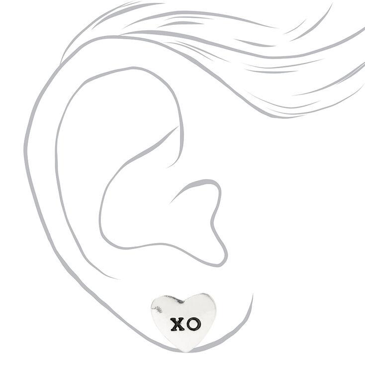 Heart XO Stud Earrings - Silver,