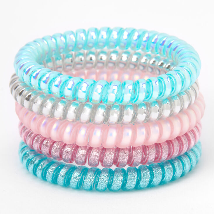 Claire's Club Spiral Hair Ties - Blue, 5 Pack,
