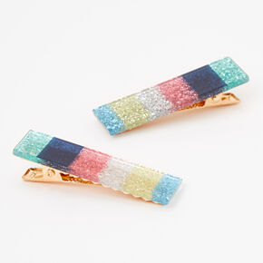 Claire's Club Bright Rainbow Glitter Hair Clips - 2 Pack,