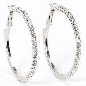 Silver 40MM Glitter Hoop Earrings,