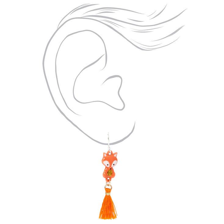 """Silver 1.5"""" Farrah the Fox Tassel Drop Earrings - Orange,"""