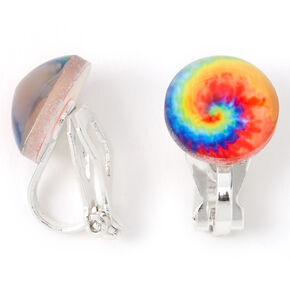 Round Rainbow Tie Dye Clip On Earrings,