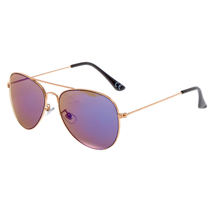 898985f8792 Rose Gold-Tone Mirrored Aviator Sunglasses