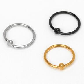 Mixed Metal Titanium 20G Ball Hoop Nose Rings - 3 Pack,