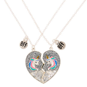 Best Friends Glitter Unicorn Pendant Necklaces - Silver, 2 Pack,