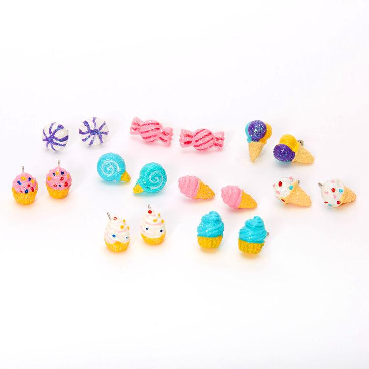 Glitter Sweet Treats Stud Earrings - 9 Pack,