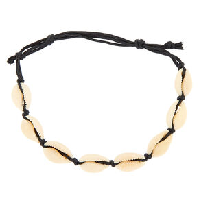 Cowrie Shell Cord Anklet - Black,