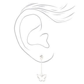 """Sterling Silver 2"""" Butterfly Drop Earrings,"""