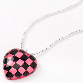 Silver Checkered Heart Pendant Necklace - Pink,