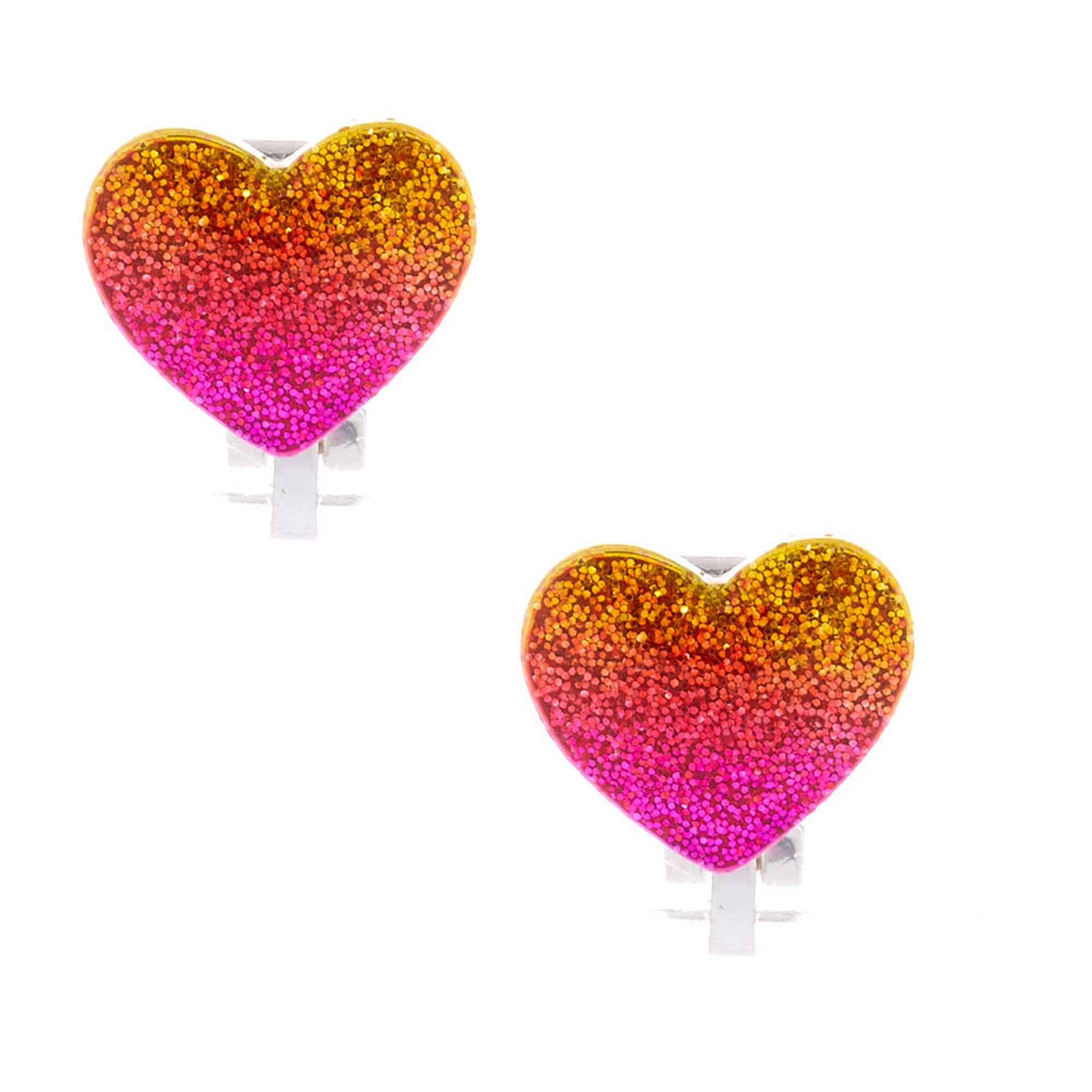 Ombre Glitter Heart Stud Earrings Pink