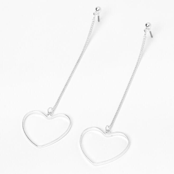 Pendantes linéaires cœurs ajourés 8cm couleur argentée,