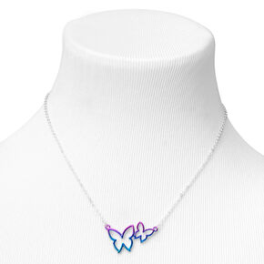 Silver Ombre Double Butterfly Pendant Necklace,