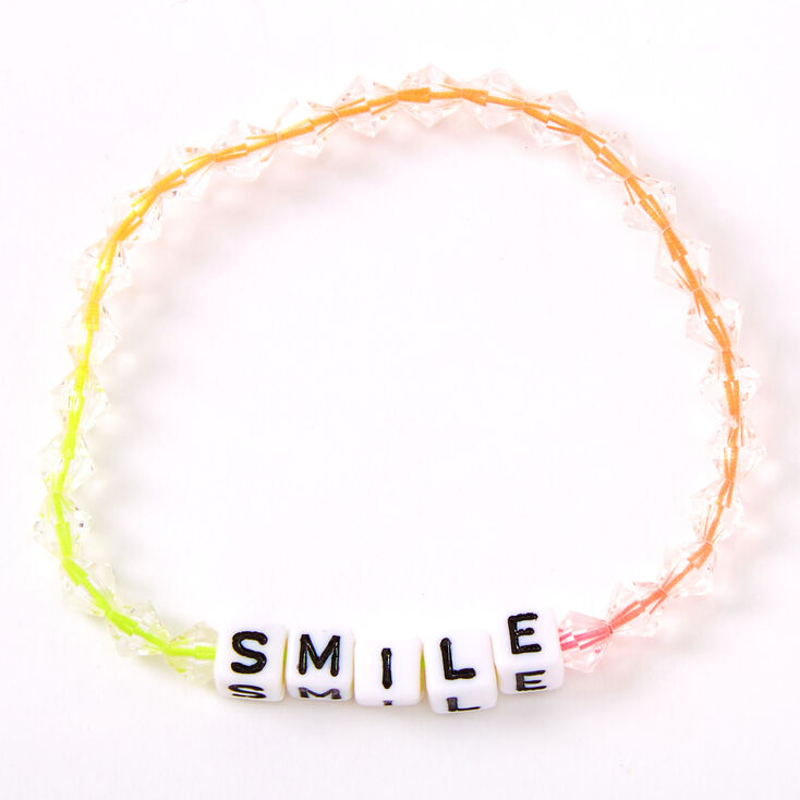 Ombre Rainbow Smile Beaded Stretch Bracelet,