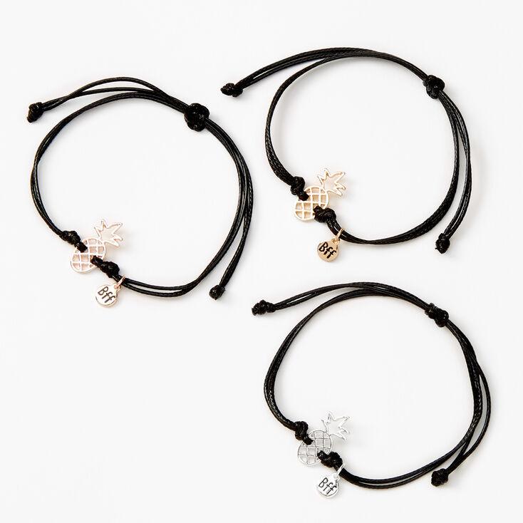 Mixed Metal Pineapple Adjustable Friendship Bracelets - 3 Pack,