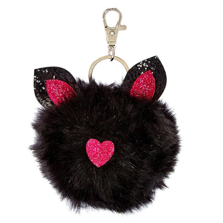Black Cat Critter Pom Pom Keychain  0a604b89a