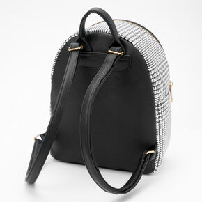 Black and White Houndstooth Small Backpack,