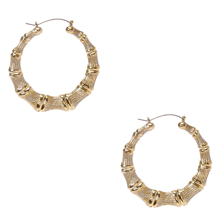 60mm Glittery Gold Tone Bamboo Hoop Earrings