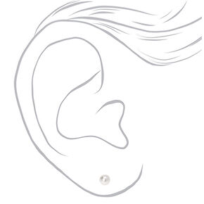 Graduated 6MM 7MM 8MM Pearl Stud Earrings - Ivory, 3 Pack,
