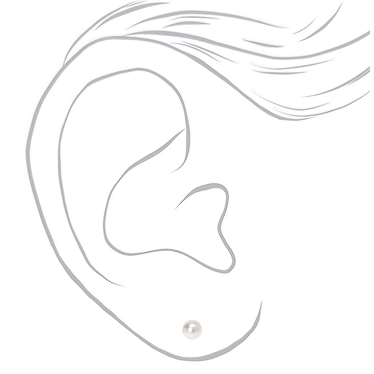 Graduated 6MM 7MM 8MM Pearl Stud Earrings - Ivory, 3 Pack,