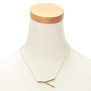 Oversized Initial Pendant Necklace - Y,