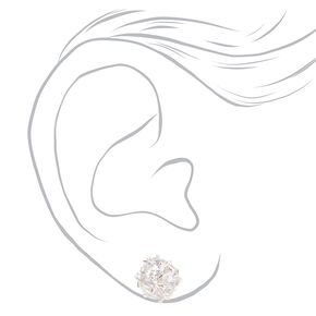 Silver Cubic Zirconia Pave Ball Stud Earrings,