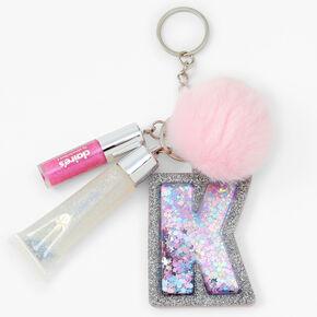 Initial Lip Gloss Keychain - Pink, K,