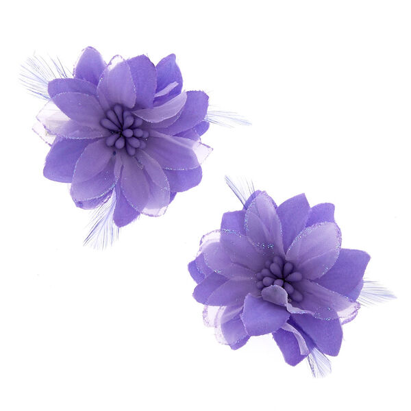 Claire's - lavender feather flower hair clips - 1
