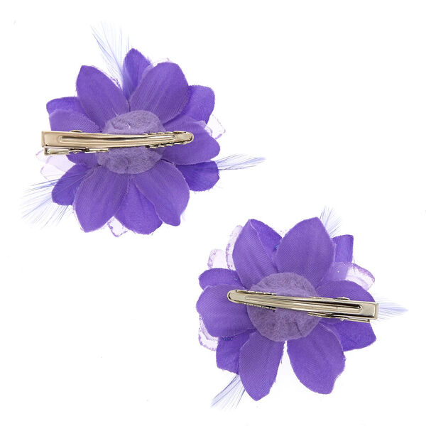 Claire's - lavender feather flower hair clips - 2