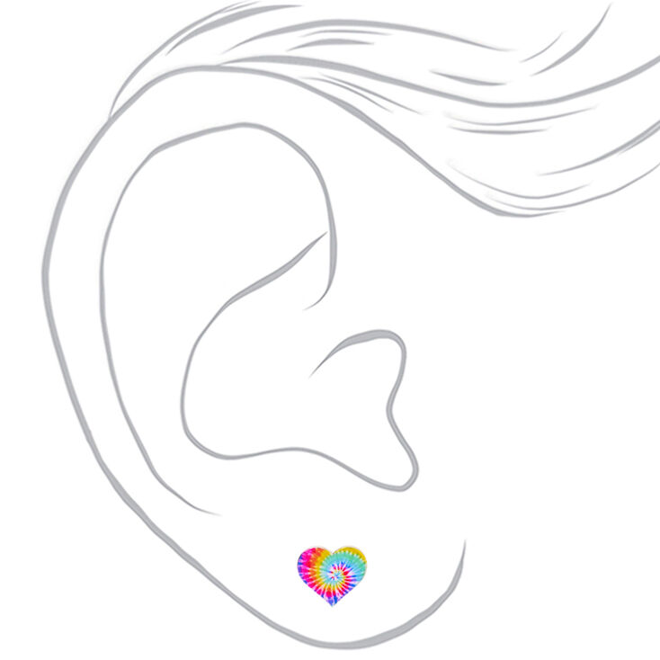 Rainbow Tie Dye Heart Stud Earrings,