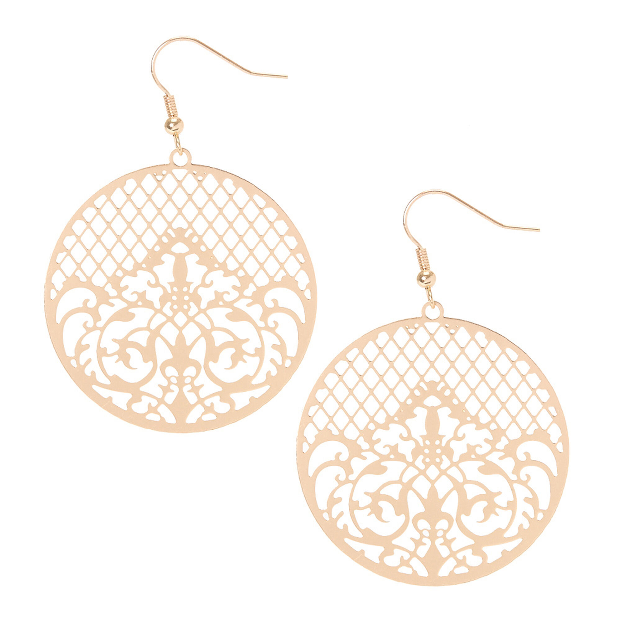 Rose Gold Filigree Medallion Drop Earrings