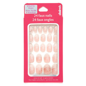 Snowflake Stiletto Press On Faux Nail Set - Pink, 24 Pack,