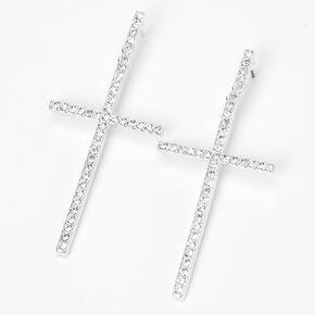 """Silver 3"""" Embellished Cross Drop Earrings,"""